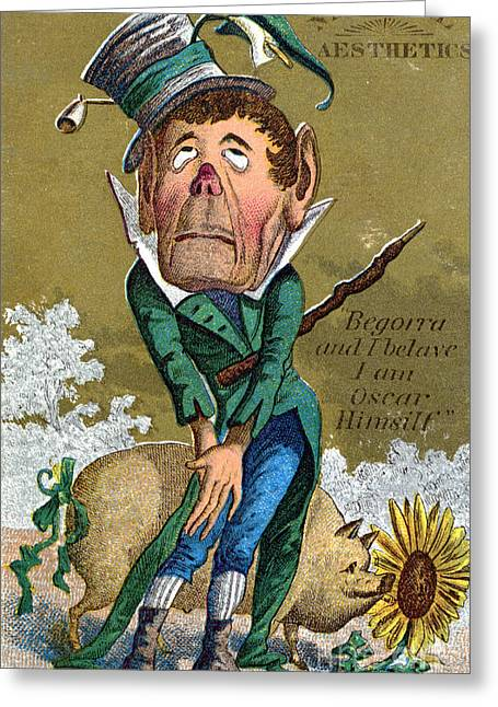 Trade Card Greeting Cards - Oscar Wilde Trade Card Greeting Card by Granger