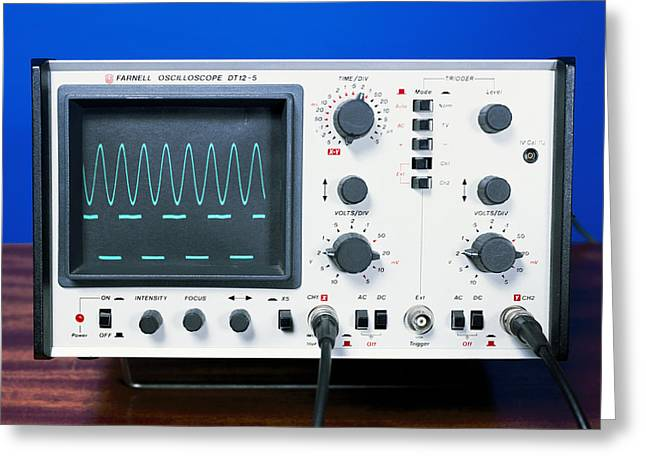 Sine Greeting Cards - Oscilloscope Wave Forms Greeting Card by Andrew Lambert Photography