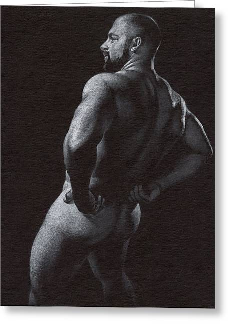 Male Nude Drawing Drawings Greeting Cards - Oscuro 4 Greeting Card by Chris  Lopez