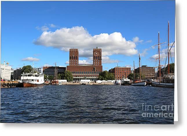 Oslo Photographs Greeting Cards - Oslo Harbor Greeting Card by Carol Groenen