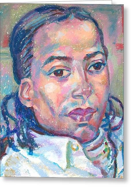 Athlete Pastels Greeting Cards - Osmel Arrate Garcia Greeting Card by Leonid Petrushin