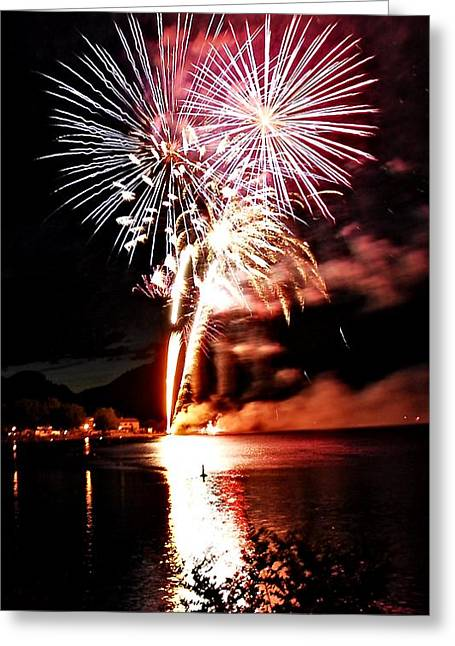 North Fork Digital Greeting Cards - Osoyoos Lake on fire Greeting Card by Don Mann