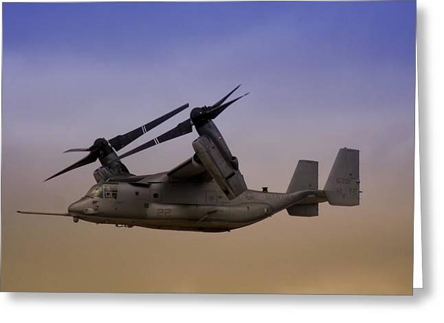 Tilt Rotor Greeting Cards - Osprey In Flight II Greeting Card by Ricky Barnard