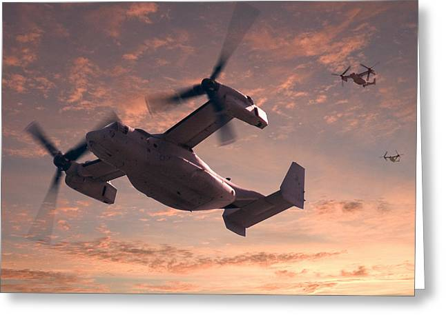 Helicopters Greeting Cards - Ospreys in Flight Greeting Card by Mike McGlothlen