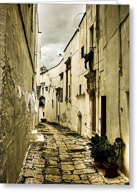 City Buildings Greeting Cards - Ostuni - Apulia Greeting Card by Joana Kruse