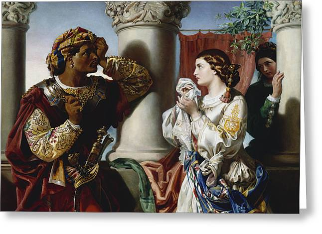 Black Man Paintings Greeting Cards - Othello and Desdemona Greeting Card by Daniel Maclise