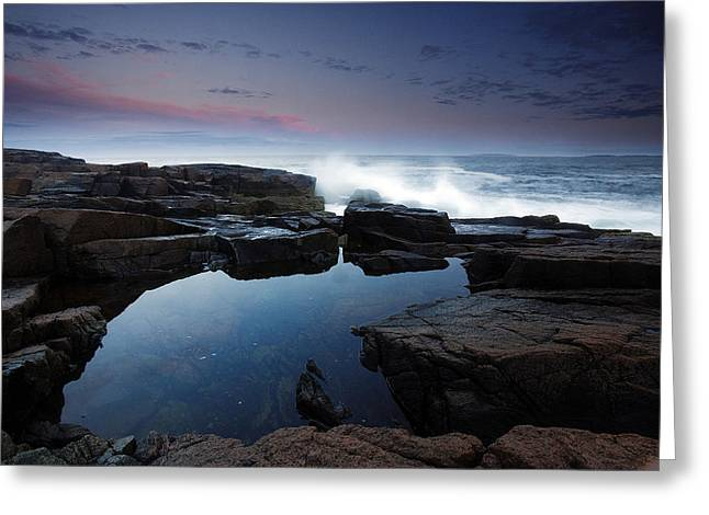 Storm Wave Greeting Cards - Otter Point Reflections II Greeting Card by Rick Berk