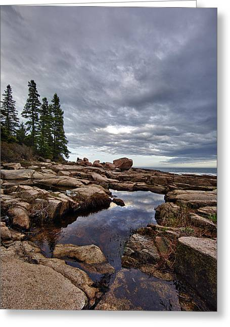 Storm Wave Greeting Cards - Otter Point Reflections Greeting Card by Rick Berk