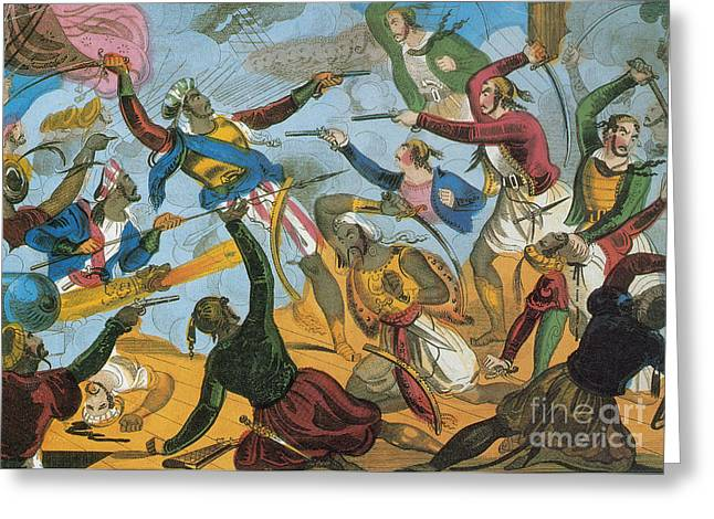 Male Dominated Greeting Cards - Ottoman Corsairs Attacking Greek Greeting Card by Photo Researchers