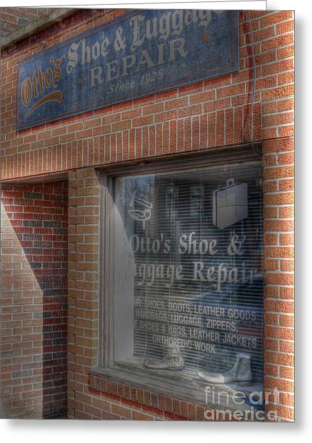 Shoe Repair Greeting Cards - Ottos Greeting Card by David Bearden
