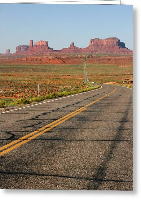 Audrey Campion Greeting Cards - ouest USA route monument valley road Greeting Card by Audrey Campion