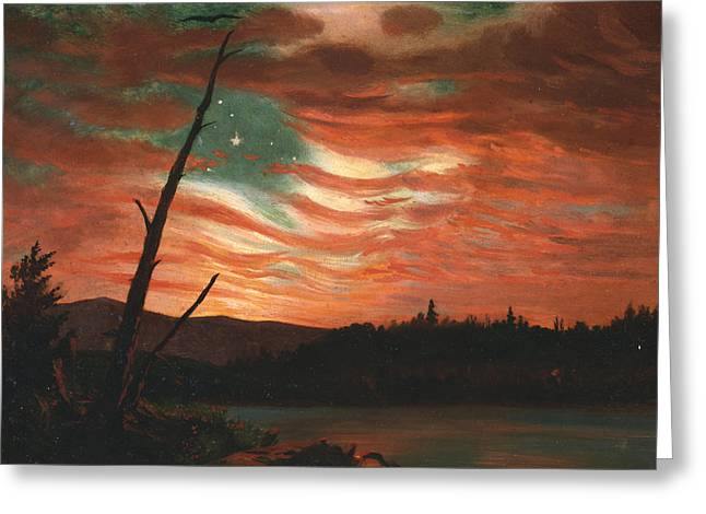 20th Paintings Greeting Cards - Our Banner in the Sky Greeting Card by Frederic Edwin Church