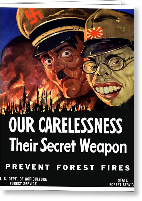Us Propaganda Greeting Cards - Our Carelessness Their Secret Weapon Greeting Card by War Is Hell Store