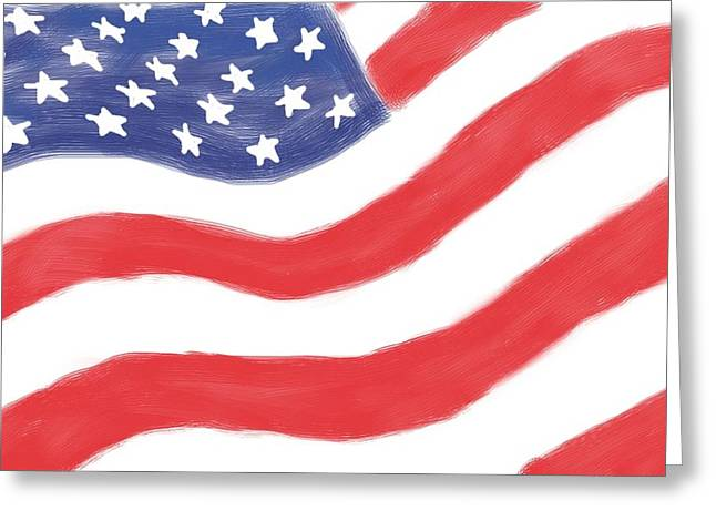 Red White And Blue Digital Art Greeting Cards - Our Flag Greeting Card by Heidi Smith