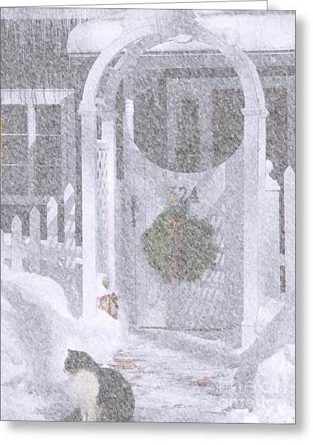 Brick Front Walk Greeting Cards - Our Front Gate Greeting Card by Cheryl Butler