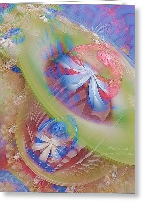 Fractal Art Pastels Greeting Cards - Our Hearts Sing  Greeting Card by Gayle Odsather