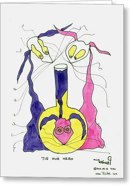 Experiment Drawings Greeting Cards - Our Hero Greeting Card by Tis Art