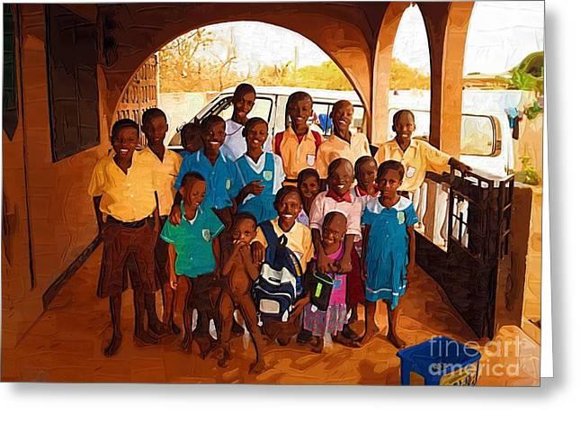 Ghana Greeting Cards - Our Kids in Ghana Greeting Card by Deborah MacQuarrie