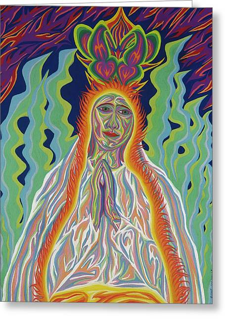 The Sun God Pastels Greeting Cards - Our Lady Of Fatima Solar Greeting Card by Robert  SORENSEN