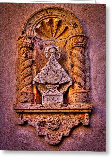 Relief Sculpture Greeting Cards - Our Lady of Good Success at the Chapel in Tlaquepaque Greeting Card by David Patterson