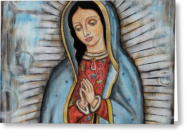 Devotional Greeting Cards - Our Lady of Guadalupe Greeting Card by Rain Ririn
