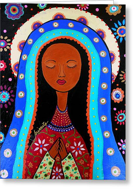 Virgin Of Guadalupe Art Greeting Cards - Our Lady Of Virgin Guadalupe Greeting Card by Pristine Cartera Turkus