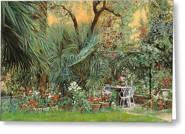 Palm Trees Greeting Cards - Our Little Garden Greeting Card by Guido Borelli