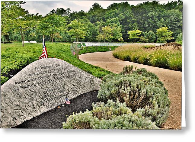 Our Nation Lost 2973 People - Garden Of Reflection Greeting Card by Angie Tirado