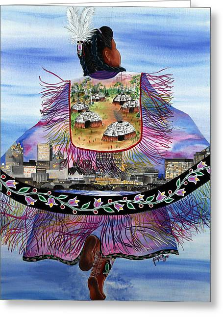 Pastel Shawl Greeting Cards - Our Past and Future Become One Greeting Card by Kristelle Ulrich