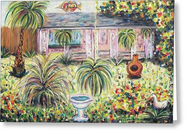 Suzanne Molleur Paintings Greeting Cards - Our Patio and Yard Greeting Card by Suzanne  Marie Leclair