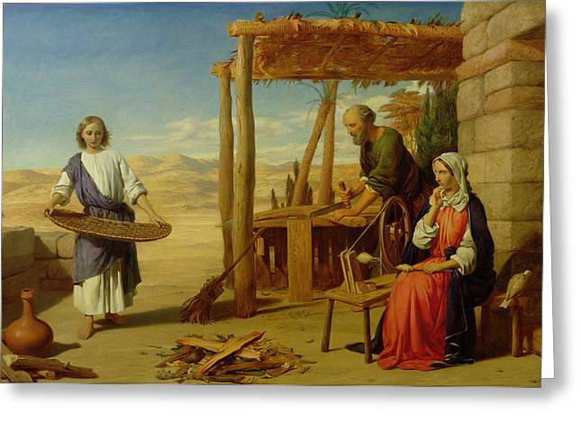 Pre-raphaelite Greeting Cards - Our Saviour Subject to his Parents at Nazareth Greeting Card by John Rogers Herbert