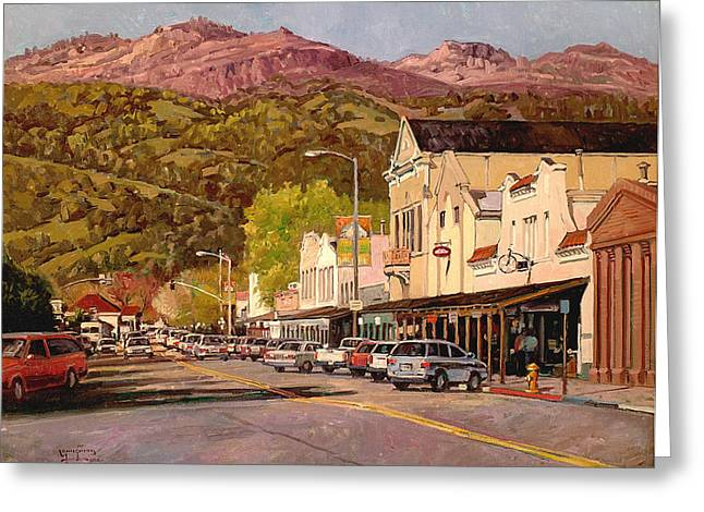 Calistoga Greeting Cards - Our Town Greeting Card by Paul Youngman
