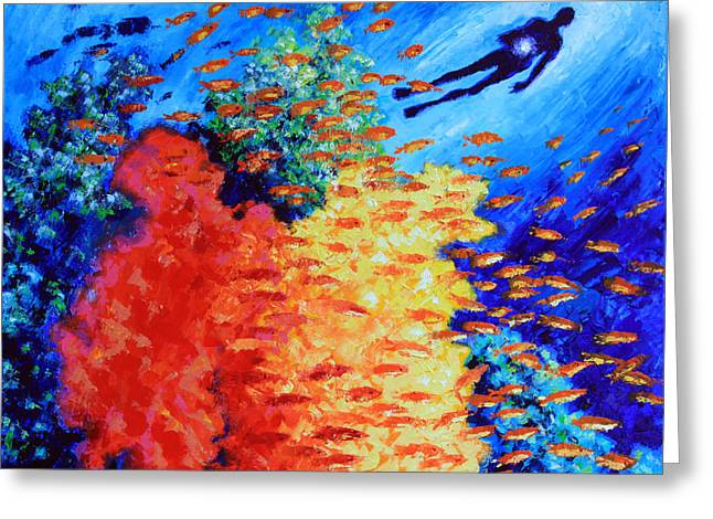 Golden Fish Paintings Greeting Cards - Our True Hidden Treasure Greeting Card by John Lautermilch