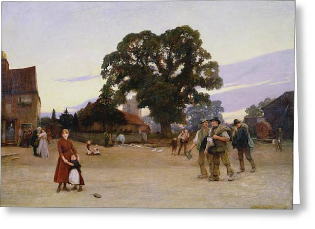 Village Scenes Greeting Cards - Our Village Greeting Card by Hubert von Herkomer
