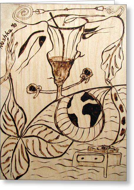 Couple Pyrography Greeting Cards - OUR WORLD No.5  Married Miscommunication Greeting Card by Neshka Muchalska