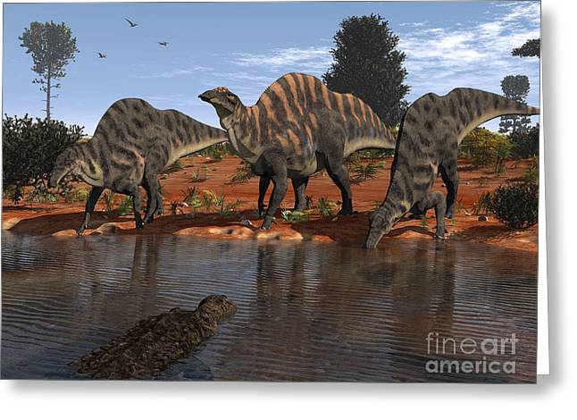 Generate Life Greeting Cards - Ouranosaurus Drink At A Watering Hole Greeting Card by Walter Myers