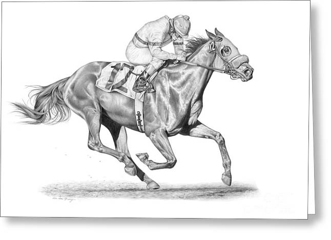 Recently Sold -  - Race Horse Greeting Cards - Out in Front Greeting Card by Dee Dee Murry