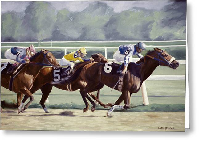 Horse Racing Paintings Greeting Cards - Out in Front Greeting Card by Linda Tenukas