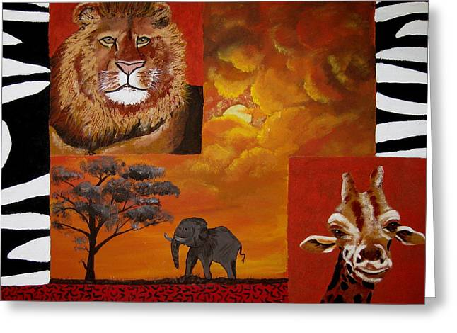 Susan Mclean Gray Greeting Cards - Out of Africa Greeting Card by Susan McLean Gray