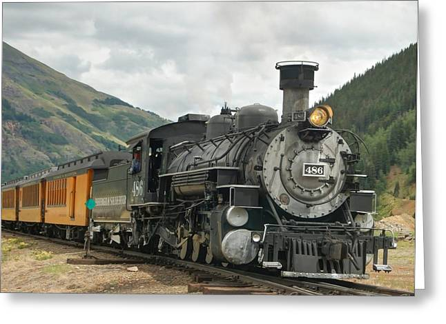 Narrow Gauge Steam Engine Greeting Cards - Out of Here Greeting Card by Ken Smith