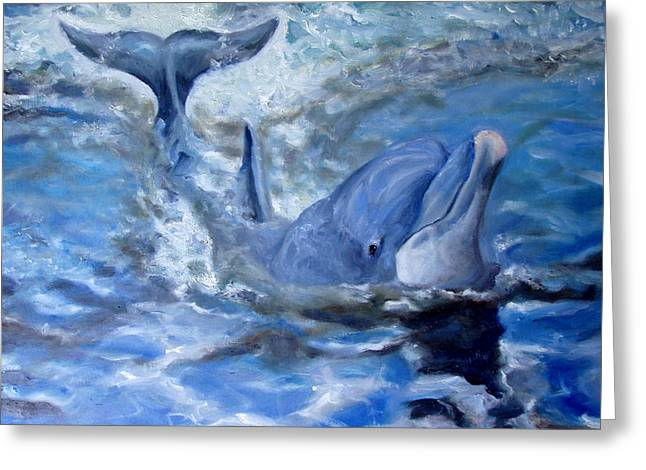 Bull Dolphin Greeting Cards - Out of the Blue Greeting Card by Graham Keith