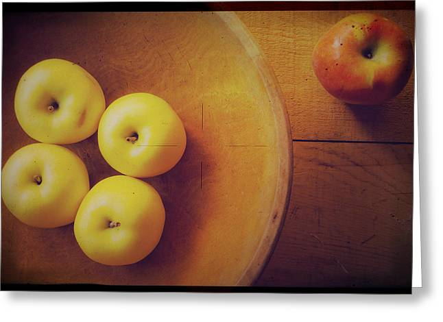 Yellow Apples Greeting Cards - Out of the Bowl Greeting Card by Toni Hopper