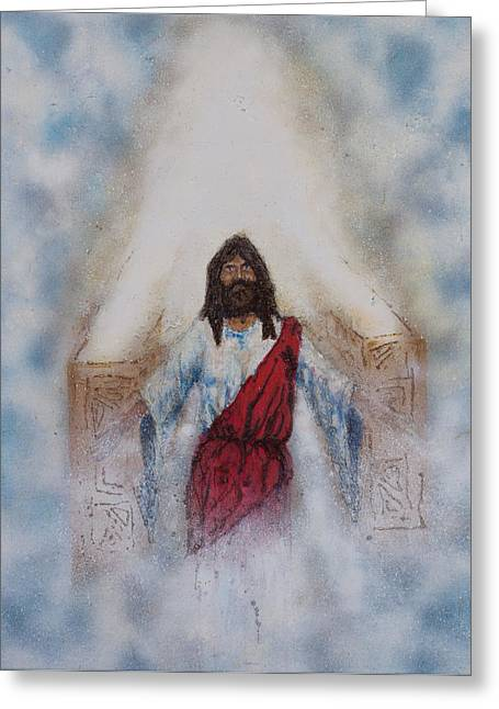 Statue Portrait Paintings Greeting Cards - Out of the midst of the Throne came the Lamb Greeting Card by Thomas Lentz