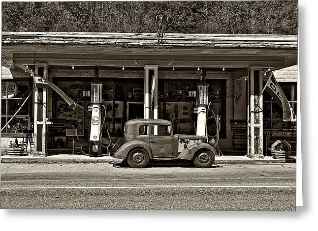 Esso Greeting Cards - Out of the Past sepia Greeting Card by Steve Harrington