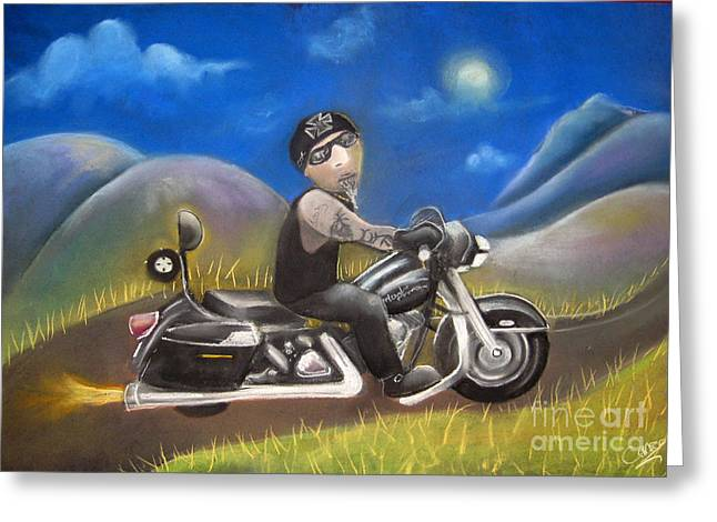 Motorcycle Pastels Greeting Cards - Out on the road Greeting Card by Caroline Peacock