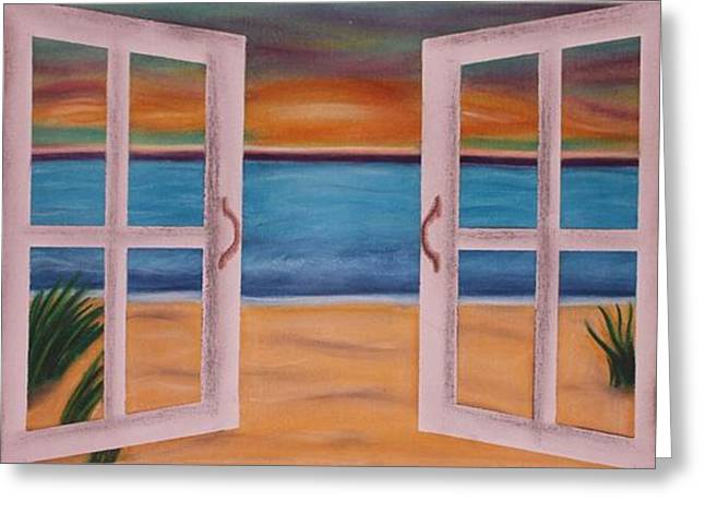 Etc. Pastels Greeting Cards - Out the Window Greeting Card by Kat Starr