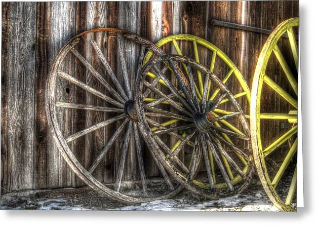 Wagon Wheels Greeting Cards - Out West Greeting Card by Jane Linders