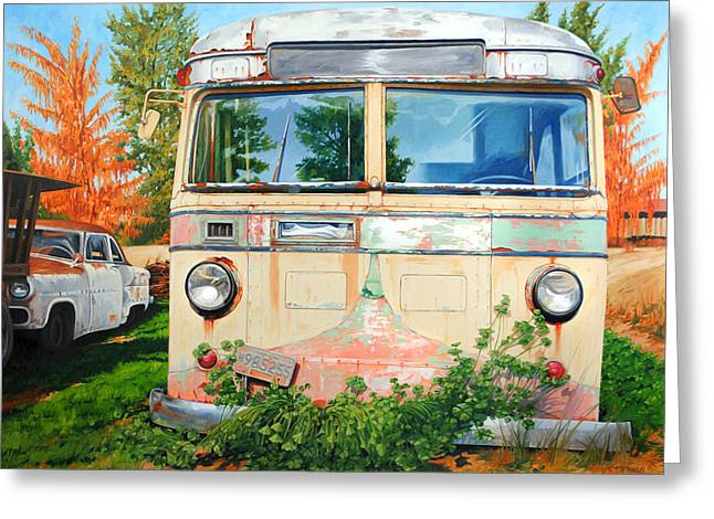Rusted Cars Paintings Greeting Cards - Out Where the Buses Dont Run Greeting Card by Chris Steinken