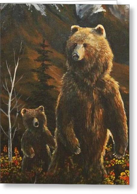 Kodiak Paintings Greeting Cards - Out with Mom Greeting Card by Scott Thompson