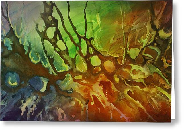 Random Shape Greeting Cards - Outburst Greeting Card by Michael Lang